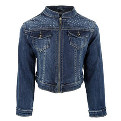 GIRLS DENIM LONG SLEEVE ZIPPER JACKET