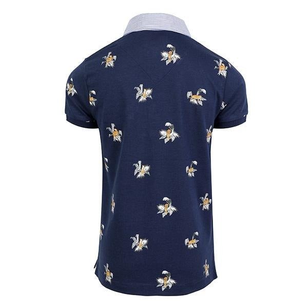 BOYS NAVY SHORT SLEEVES STAMPED TIGERS POLO - ruffntumblekids