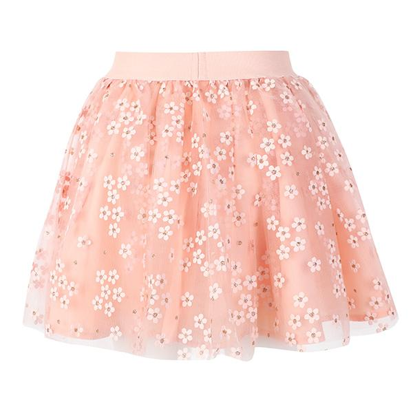 GIRLS PEACH FLORAL TULLE SKIRT - ruffntumblekids