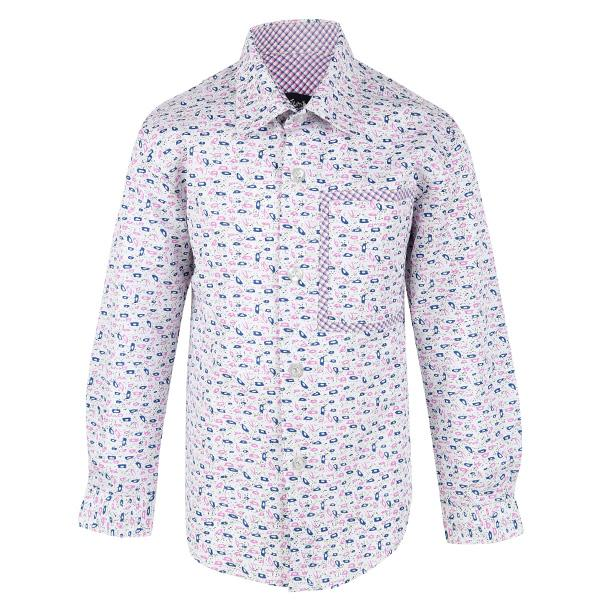 BOYS OFF-WHITE/LILAC LONG SLEEVE PRINT SHIRT