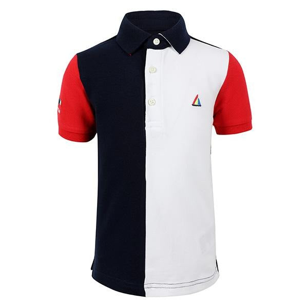 BOYS NAVY MULTI-COLOR BLOCK POLO - ruffntumblekids
