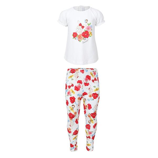 Girls White Floral Print Legging Set_ruffntumble