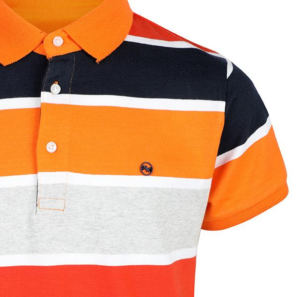 BOYS ORANGE SHORT SLEEVE STRIPE POLO TEE - ruffntumblekids