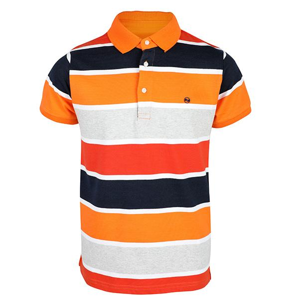 boys orange short sleeve stripe polo tee_ruffntumblekids