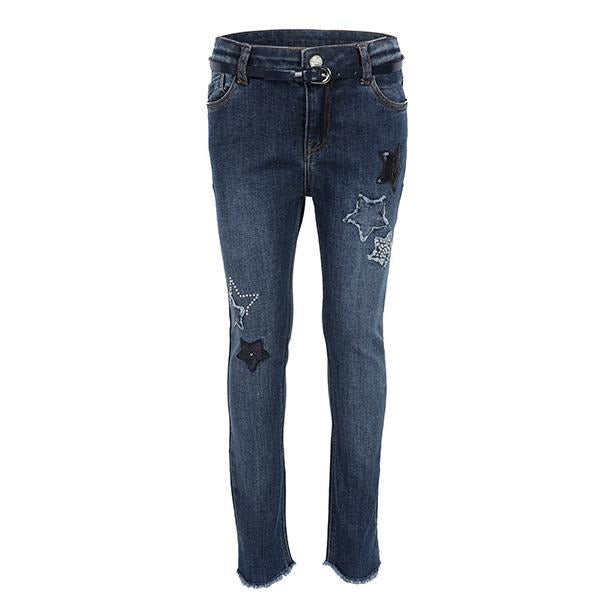GIRLS DARK DENIM LONG TROUSER - ruffntumblekids