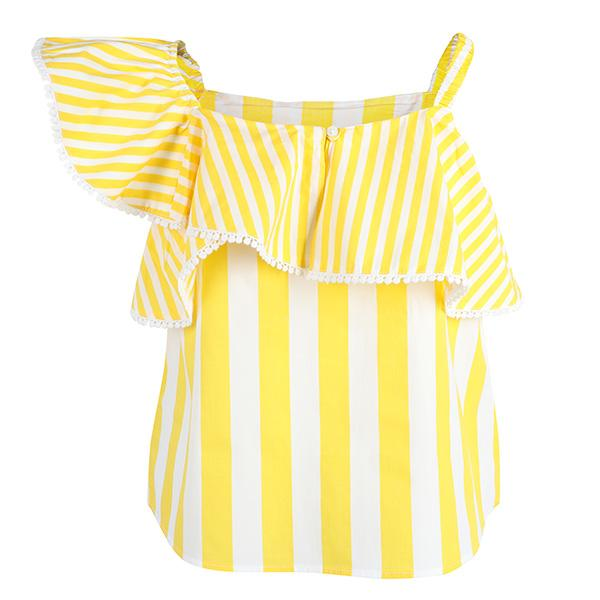 GIRLS YELLOW STRIPES POPLIN BLOUSE