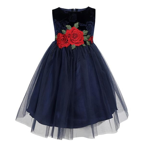 GIRLS NAVY VELVET ROSE PATCH DRESS - ruffntumblekids