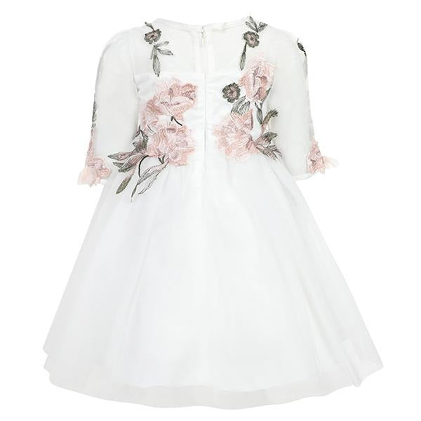 GIRLS OFF WHITE FLORAL TULLE DRESS
