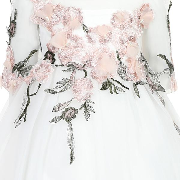 GIRLS OFF WHITE FLORAL TULLE DRESS - ruffntumblekids