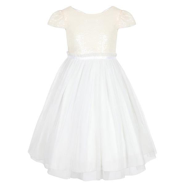 GIRLS IVORY SEQUIN MESH DRESS