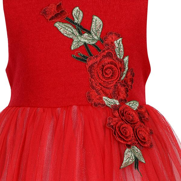 GIRLS RED WOOL TOP ROSE PATCH DRESS