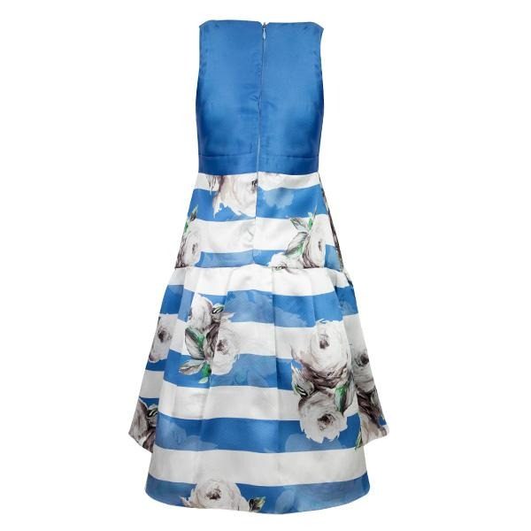 GIRLS BLUE ROUND NECK DRESS - ruffntumblekids