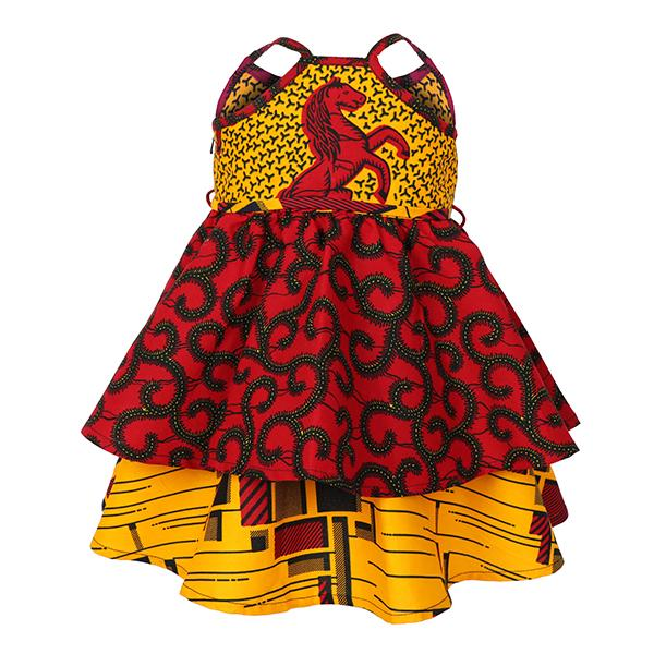 GIRLS MULTI MIXED PRINT ANKARA DRESS - ruffntumblekids