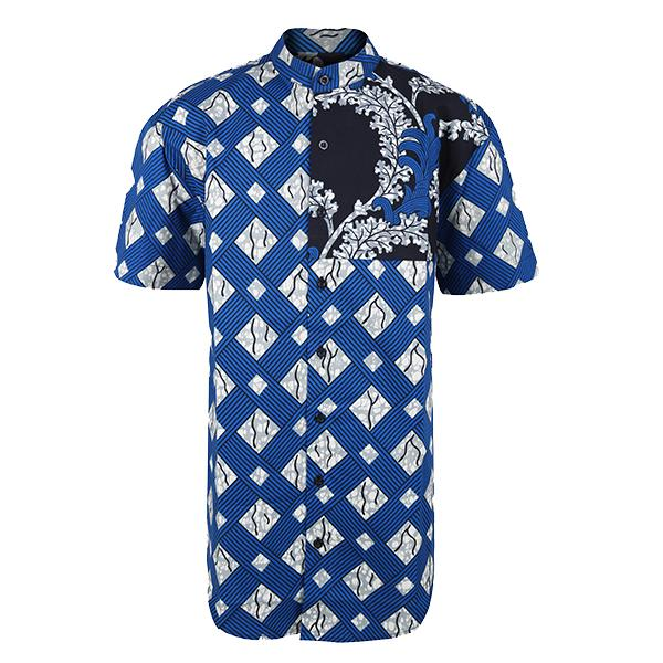 Men Blue Ankara Shirt_ruffntumble