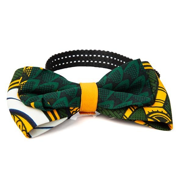 GIRLS GREEN AND YELLOW ANKARA HAIR BOW - ruffntumblekids