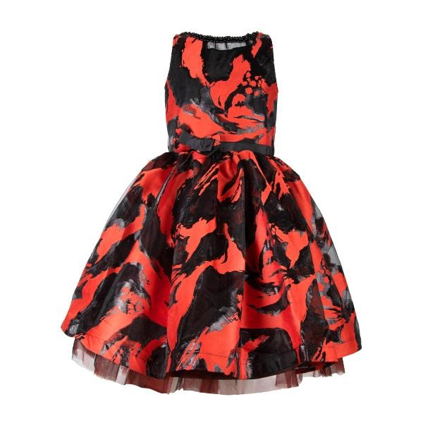 Girls Red Damask Ball Dress
