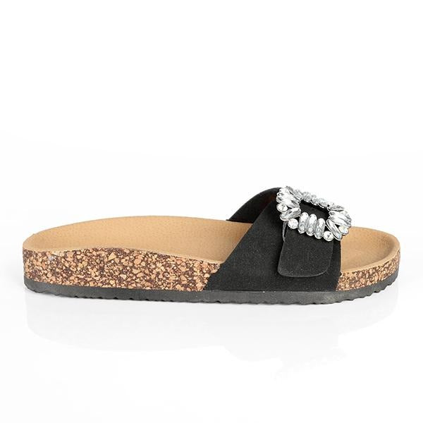BIG/BABY GIRLS BLACK STONE DESIGN SLIPPERS - ruffntumblekids
