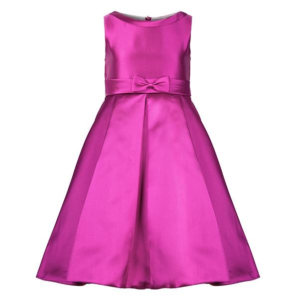 GIRLS PURPLE BIG BOW FIT & FLARE DRESS