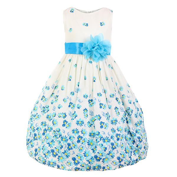 GIRLS CREAM AND BLUE FIT&FLARE DRESS - ruffntumblekids