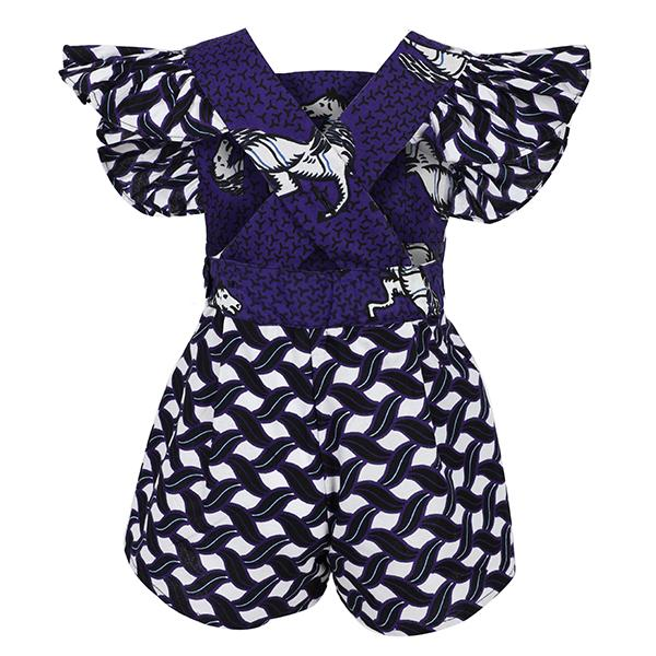 BABY GIRL PURPLE MIXED PRINT ANKARA PLAYSUIT - ruffntumblekids