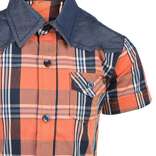 BOYS MULTICOLORED  CHECK SHORT SLEEVE SHIRT
