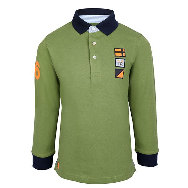 BOYS GREEN LONG SLEEVE POLO - ruffntumblekids