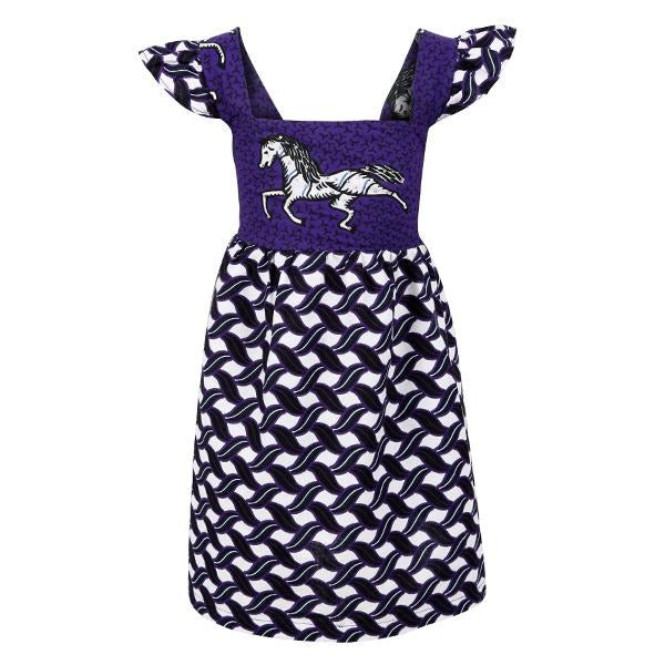 Purple Mixed Print Ankara Dress_Ruffntumble