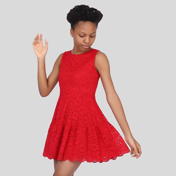 girls red sleeveless lace dress _ruffntumblekids