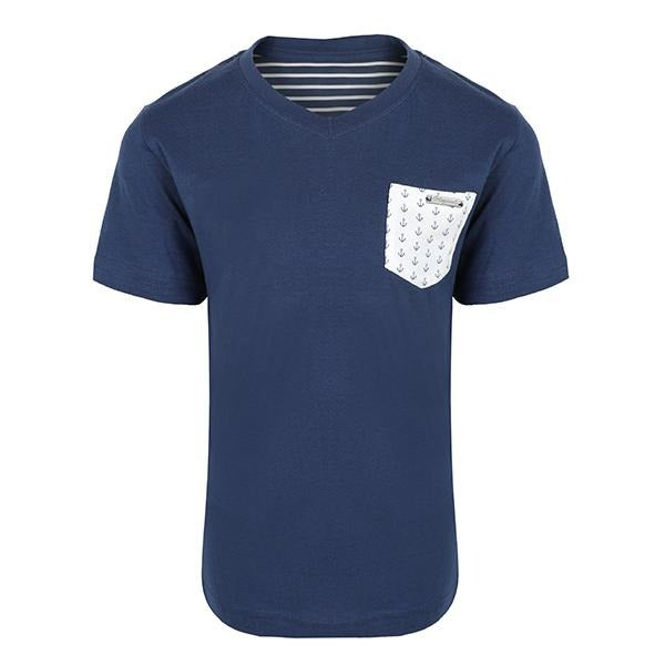 blue short sleeve T-shirt-ruffntumble
