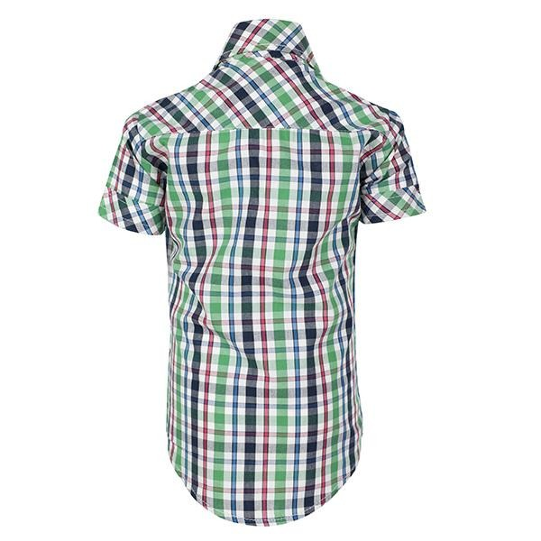 BOYS GREEN & WHITE CHECK  SHORT SLEEVE SHIRT - ruffntumblekids