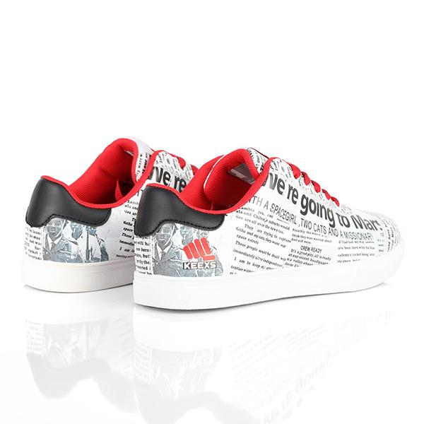 BOYS WHITE/RED LACE UP SNEAKERS - ruffntumblekids