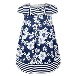 GIRLS FLORAL AND STRIPED SATIN DRESS - ruffntumblekids