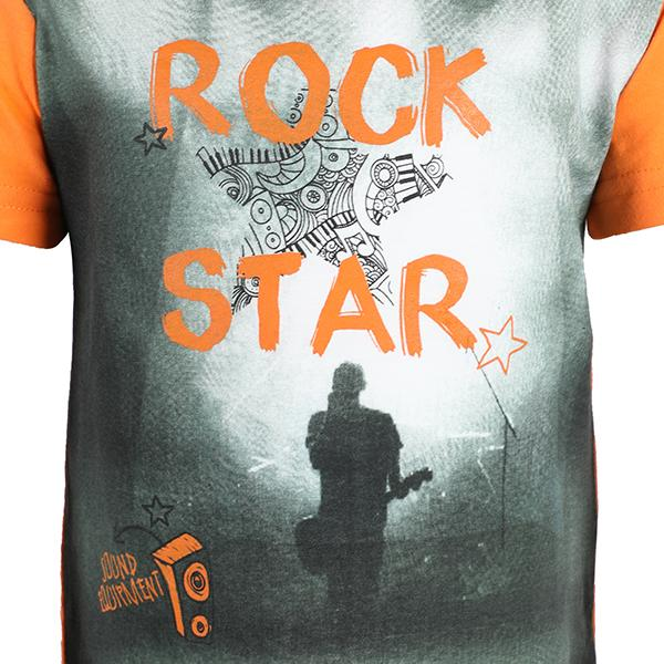 BOYS ORANGE/GREY ROCK STAR TEE - ruffntumblekids