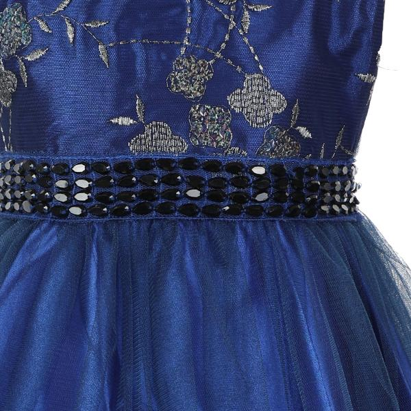 GIRLS BLUE EMBROIDERED TULLE DRESS - ruffntumblekids