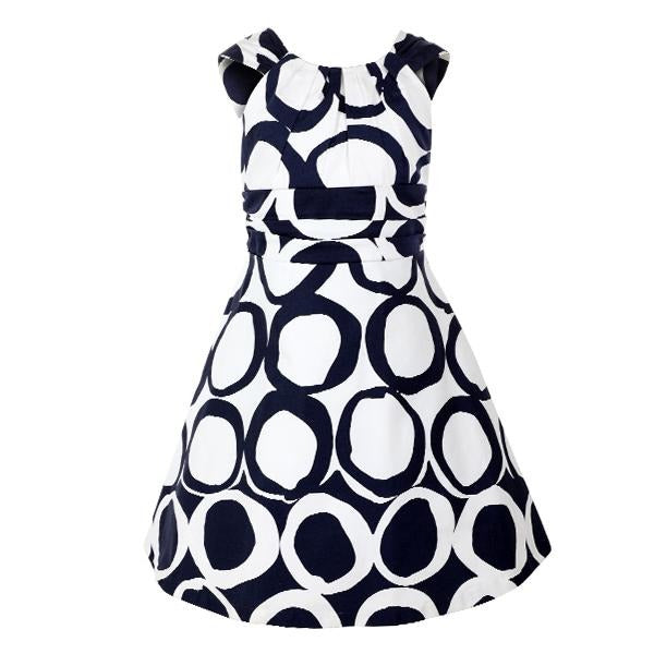 girls white and navy A-line dress_ruffntumblekids