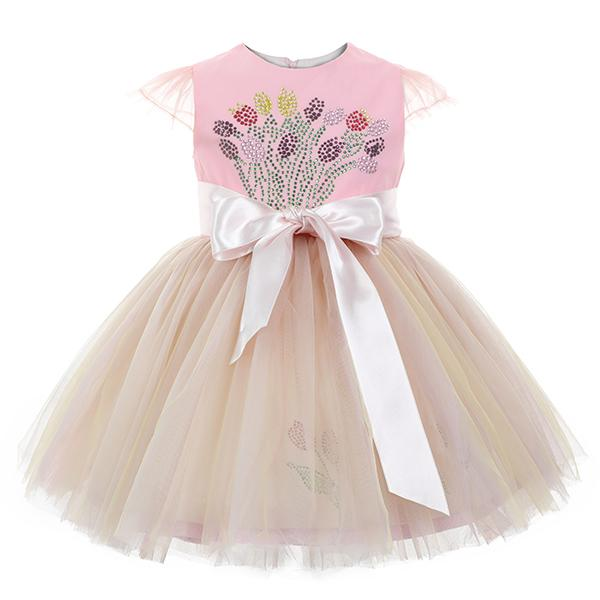 girls pink diamante tulle dress._ruffntumblekids