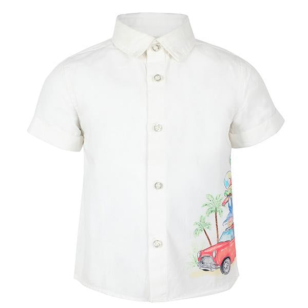BOYS WHITE SHORT SLEEVES GRAPHIC SHIRT - ruffntumblekids