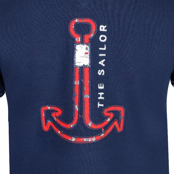 BOYS BLUE ANCHOR LOGO POLO - ruffntumblekids