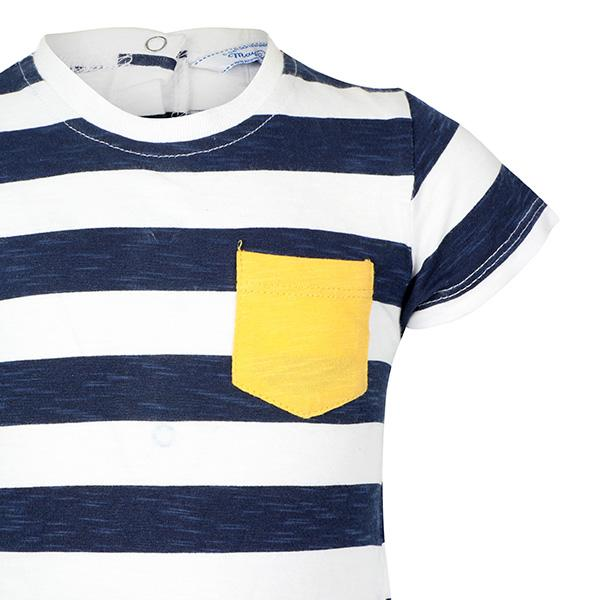 BOYS NAVY SHORT SLEEVES STRIPED T-SHIRT - ruffntumblekids