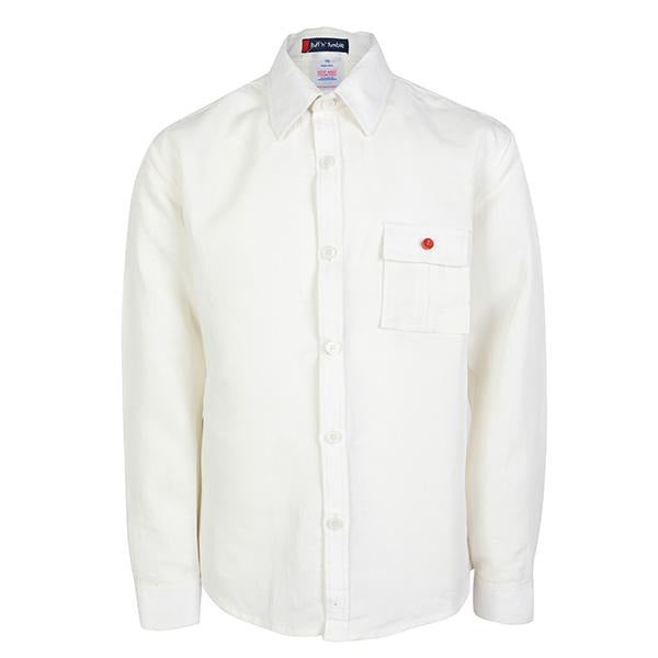 BOYS CREAM LINEN LONG SLEEVE SHIRT - ruffntumblekids