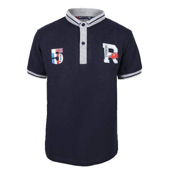 navy blue embroidered short sleeve polo-ruffntumble