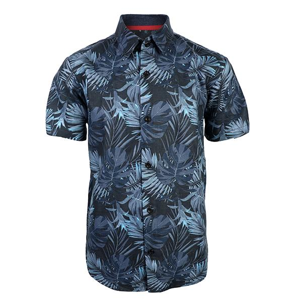 navy blue floral print short sleeve polo-ruffntumble