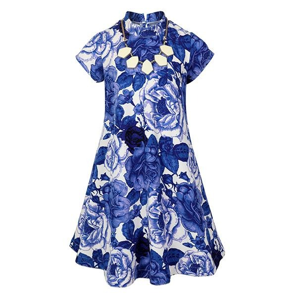 GIRLS BLUE FLORAL A-LINE DRESS