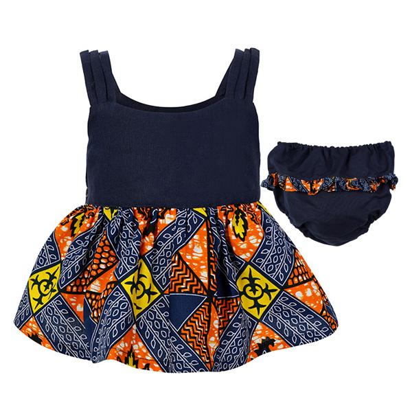 GIRLS NAVY ANKARA BLOUSE WITH PANTS - ruffntumblekids