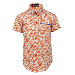 BOYS ORANGE FLORAL SHORT SLEEVES SHIRT - ruffntumblekids