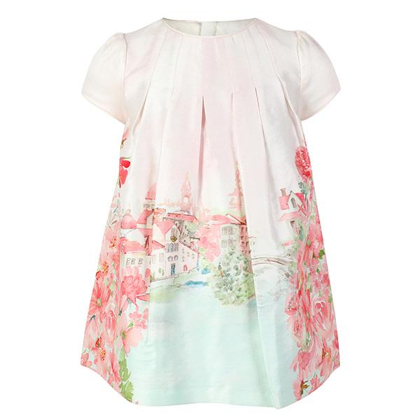 GIRLS APRICOT LANDSCAPE DRESS