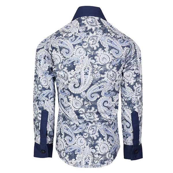 NAVY BLUE & WHITE FLORAL LONG SLEEVES SHIRT