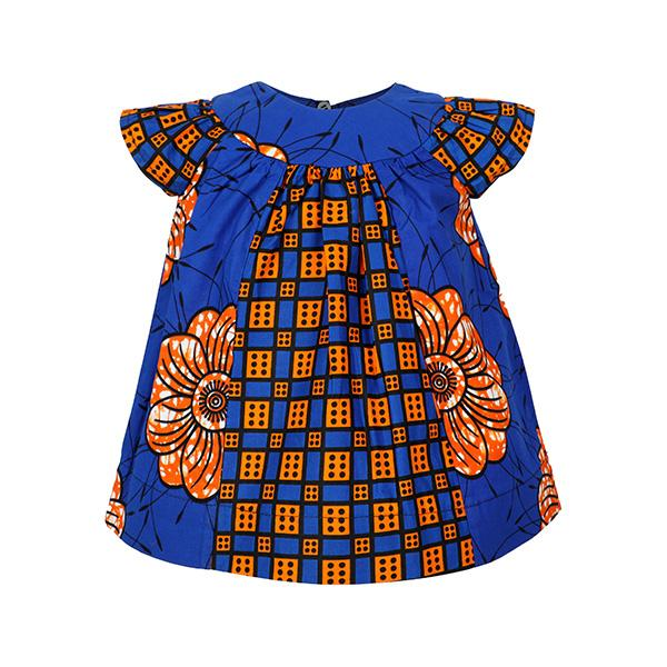 GIRLS ORANGE & BLUE ANKARA DRESS