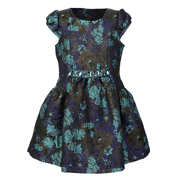 GIRLS BLUE FLORAL JACQUARD DRESS