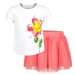 Girls Pink Flared Skirt Set_Ruffntumble